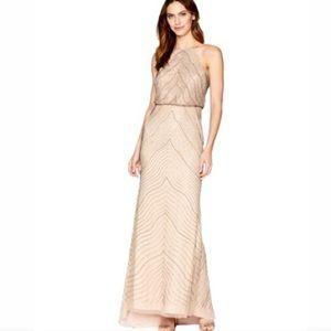 🆕ADRIANNA PAPELL Halter Beaded Blouson Gown Sz 16